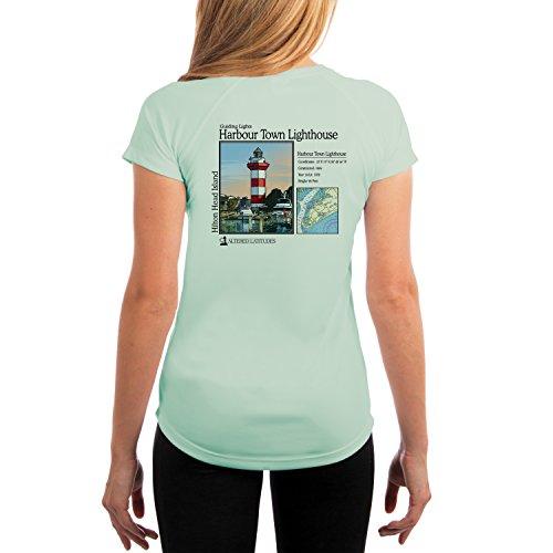 Altered Latitudes Guiding Lights Harbour Town Light Women's UPF 50+ Short Sleeve T-Shirt Large - Town Shops Harbour