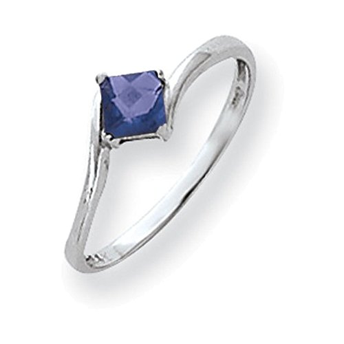 Jewelry Adviser Rings 14k White Gold 4mm Princess Cut Tanzanite ring
