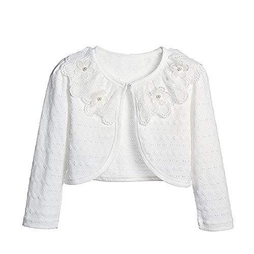 (Girls Long Sleeve Bolero Jacket Lace Cotton Cardigan Shrug Sunscreen Shirt Dress Cover up 7-8T)