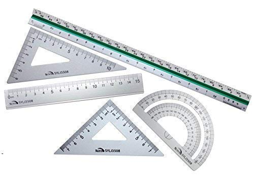 Taiga Now - 5-Pc, 12'' Premium Aluminum Triangular Scale Ruler Set - with 4-Pc Aluminum Triangle Ruler Square Set - Great for Students, Homeschoolers, Architects, Engineers - STEM Education and More! by Taiga Now