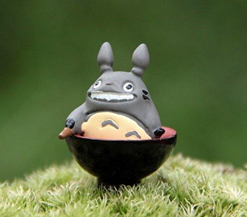2 pcs Miniature Totoro Sitting Inside a Rice Bowl Figurines Super Cute Totoro Must Have Fairy Garden Terrarium Supplies