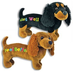 GET Well PLUSH 12'' Black Dachshund DOG - Gift for HOSPITALIZED Child or Adult - Weiner - SPEEDY Recovery - SICK or ILL