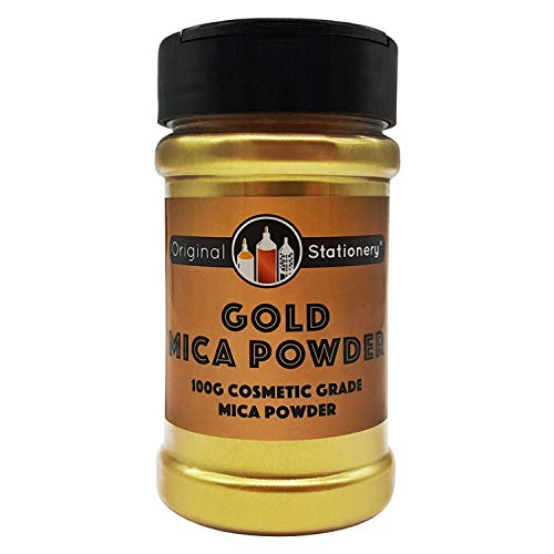 Gold Mica Powder Pearl Pigment - 3.5 Ounces / 100 Grams [Huge x3-5 The Size of Our COMPETITORS] Cosmetic Grade – True Gold Color – Beautiful Mica for Slime, Soap Making, Bath Bombs, Make-up, Nails
