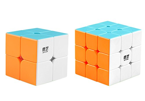 Coogam Qiyi Speed Cube Bundle 2x2 3x3 Magic Cube Set Qidi s 2x2 Warrior W 3x3 Stickerless Puzzle Toy Pack
