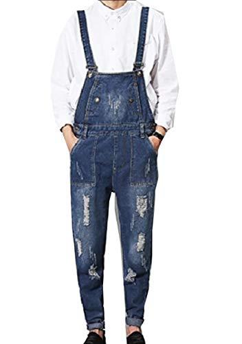 [해외]Fseason-남성 테이퍼 워 시드 점프 수트 카우보이 깨진 구멍 트림-맞는 턱 받이 전체 / Fseason-Men Tapered Washed Jumpsuit Cowboy Broken Hole Trim-Fit Bib Overall