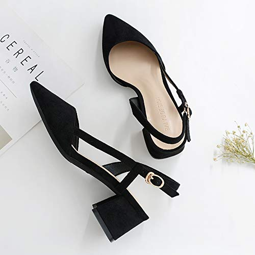 With Pointed Women Black High Slim Female Wild Temperament Black Thick Heel Shoes High Yukun Matte With heels x1HqwSSPF