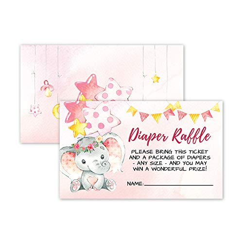 50 Double Sided Elephant Diaper Raffle Ticket Insert Cards for Girl Baby Shower Invitations or Gender Reveal Invites Party Games Activities Decorations Supplies Bring a Pack of Diapers to Win a Prize