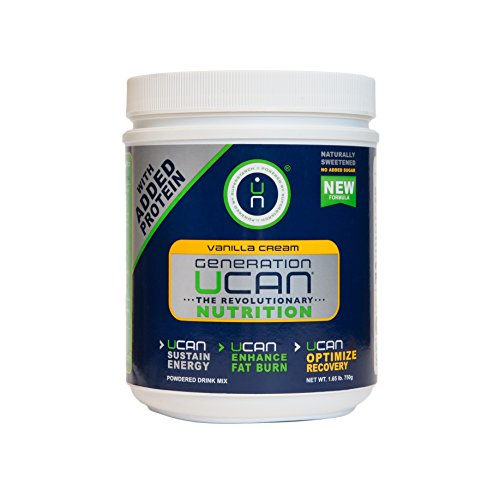 Generation UCAN SuperStarch Protein Drink Mix Tub, Vanilla Cream, No Added Sugar, Gluten-Free, Naturally Sweetened, 26.5 Ounces, 25 Servings