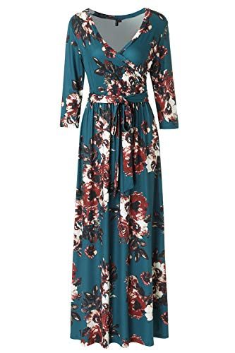 Zattcas Womens 3/4 Sleeve Floral Print Faux Wrap Long Maxi Dress with Belt (Large, Teal) ()