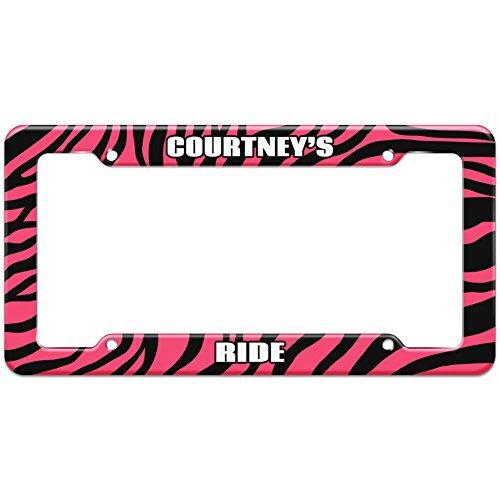 Pink Zebra Stripes License Plate Frame Ride Names Male Cl-Cy - Courtney
