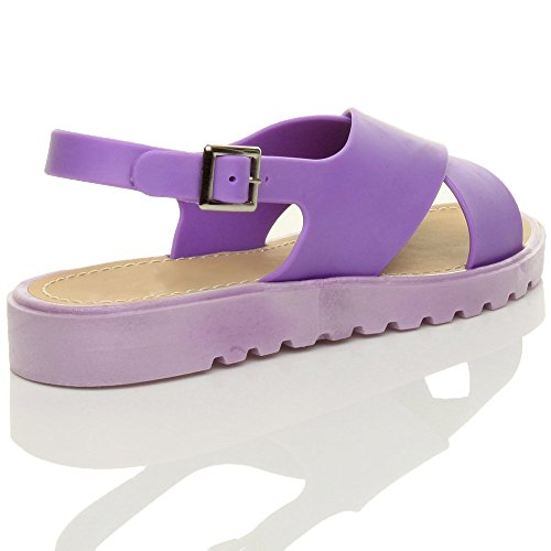 Chaussures Sandales Lacets Femmes Violet Talons Boucle Jelly Plats Petits Curseur xWHqv6wS