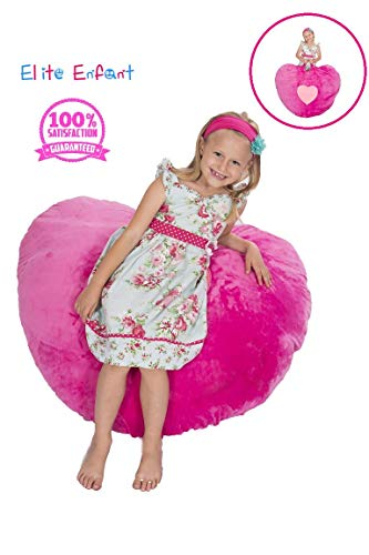 Elite Enfant Large Pink Heart Shape Stuffed Animal Storage Bean Bag Pillow Chair – 40 Comfy Premium Plush Fabric – The Ultimate Storage Solution to Clean Up Kids Teens Any Rooms