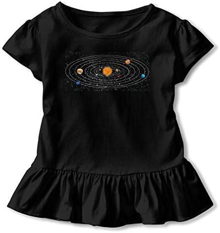 Zi7J9q0 Camisas del sistema solar de manga corta para ni ntilde;os Tops de túnica de moda con Falbala 26T
