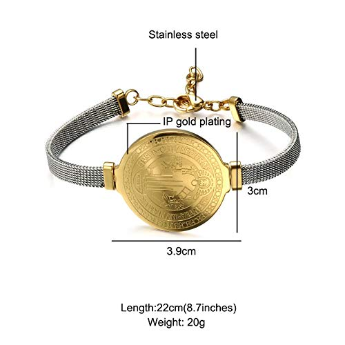 Vintage Stainless Steel Belief Medal Gold Bracelets | for Religious Jewelry Gifts