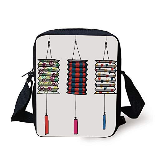 Lantern,Oriental Fireworks Vertical Geometrical Heart Shapes Fun and Celebration with Friends Decorative,Red Dark Blue Print Kids Crossbody Messenger Bag Purse