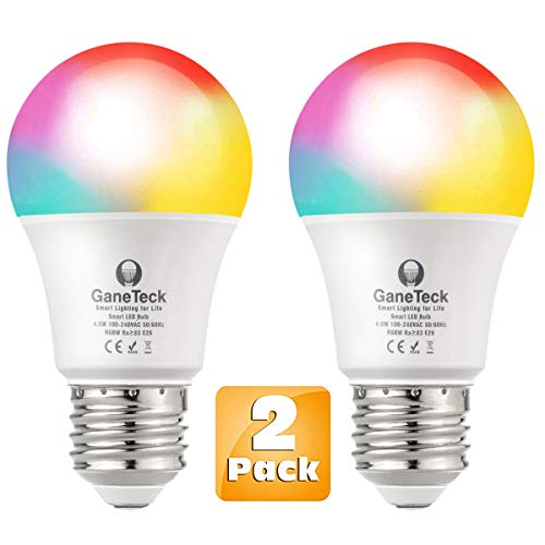 GaneTeck Smart LED Light Bulb WIFI RGB Color Changing Super Bright Compatible with Alexa Google Home App Remote Control