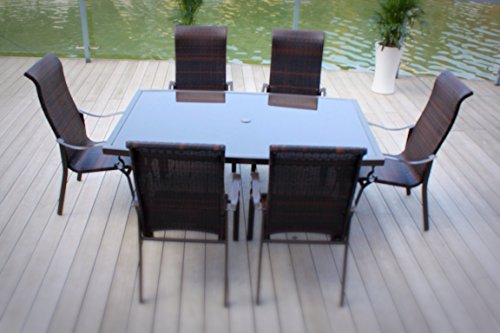 7pc Cast Aluminum and Wicker Patio Dining Furniture Set (Rust Patio Proof Furniture)