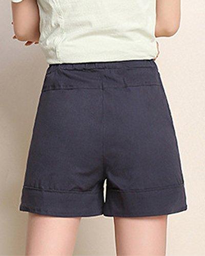 Yonglan Militare Casual Coulisse Estate Larga Marina Gamba Elastica Corti Donna Vita A Pantaloni Slim Pantaloncini I6BIr