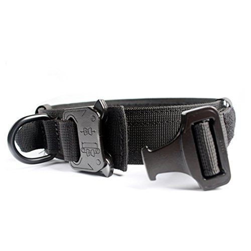 Yisibo Dog Harness Collar Tactical Nylon Collar Military Training Adjustable Dog Collar Leash With D-ring Handle Metal Buckle 1.5'' for Small Medium Large Dogs Black M