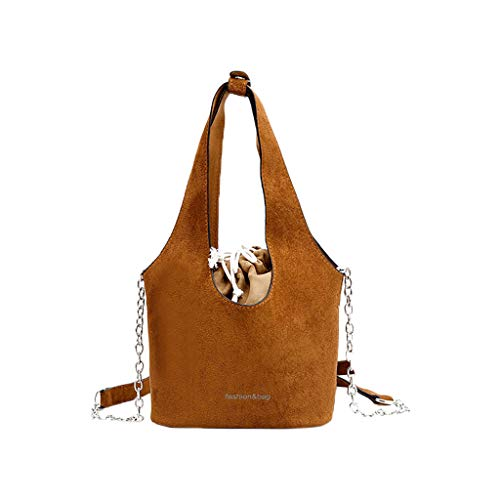 Women Satchel Bags for Women THENLIAN Scrub Retro Drawstring Bucket Bag Joker One Shoulder Crossbody Bag(Brown)