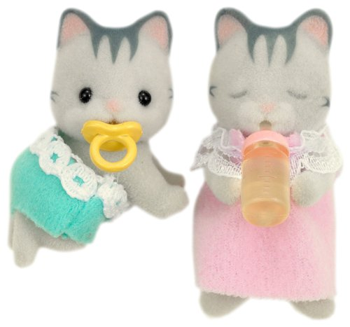 실바니안 패밀리 인형  회색 빛 고양이 가족 그레이 슈 고양이 쌍둥이