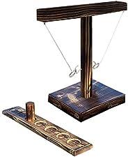 Ring Toss Games for Kids Adults, Handheld Board Games with Shot Ladder Bundle, Outdoor Indoor Handmade Wooden