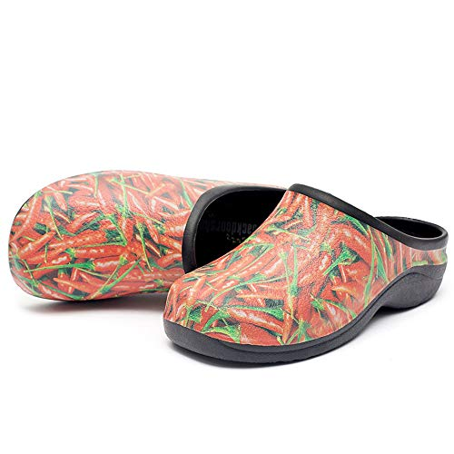Backdoorshoes Waterproof Premium Garden Shoes with Arch Support -Chilli Design