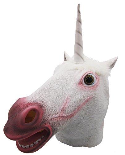 [Lubber Unicorn Costume Latex Animal Halloween Head Mask white] (Pokey The Horse Costume)