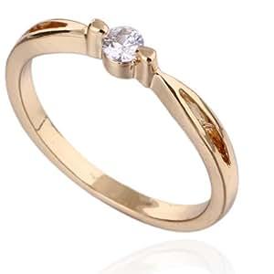 La Vogue brillante 18K - oro para mujer-anillo Golden anillos cinta anillos de cobre tamaño: 9 Circunferencia: 59 mm