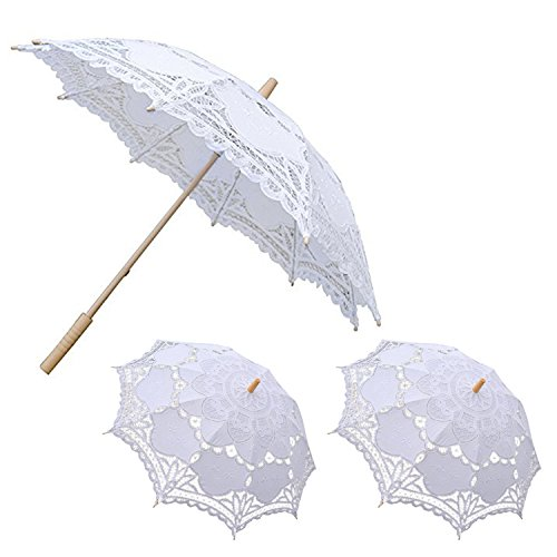 Bridal Shower Umbrella (Lace Umbrella, E SELECT Wedding Party Decoration for Romantic Bridal Photograph 1 Big and 2 Small (White Pack of 3))