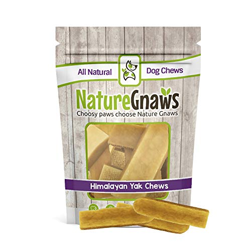 Nature Gnaws Himalayan Yak Chews Medium 4-5 inch (4 Count) - 100% Natural Dog Chews for Medium Dogs & Average Chewers ()