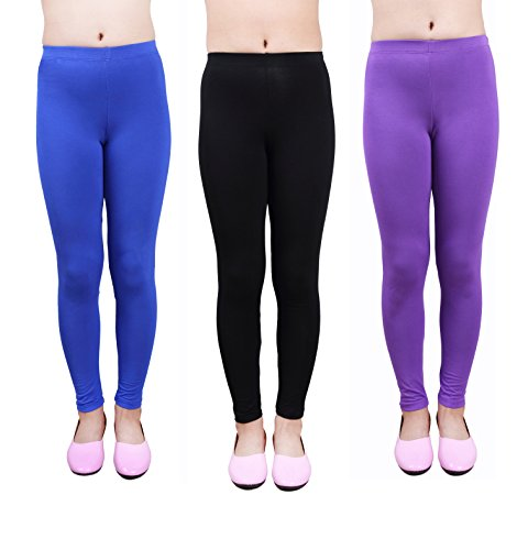 IRELIA Girls Leggings 3 Pack Modal Solid Size 4-12 Spring/Fall 03 S by IRELIA