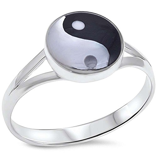 Yin Yang Ring Band Yin and Yang Chinese Symbol Solid 925 Sterling Silver Split Open Shank (Shank Ring Open)