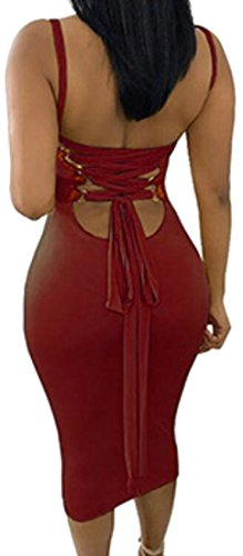 Women Bodycon Bandage Cut Sleeveless Cromoncent Red Clubs Dress Sexy Low Party adwfHxqp