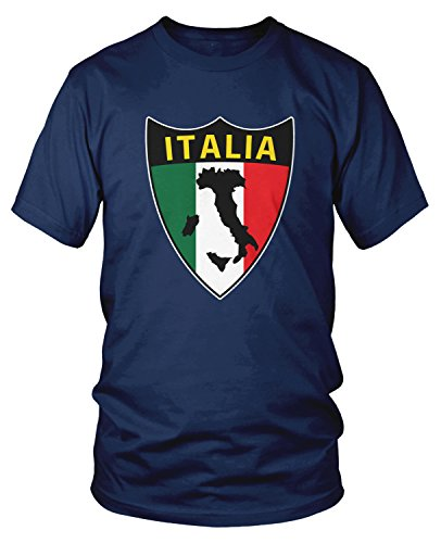 Amdesco Men's Italia Flag Shield, Love Home Italy, Italian T-Shirt, Navy Blue ()