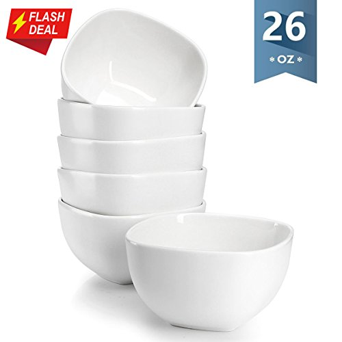 Pasta Square Bowl (Sweese 1304 Porcelain Square Bowl Set - 26 Ounce Deep and Microwavable for Cereal, Soup and Fruit - Set of 6, Matte White)