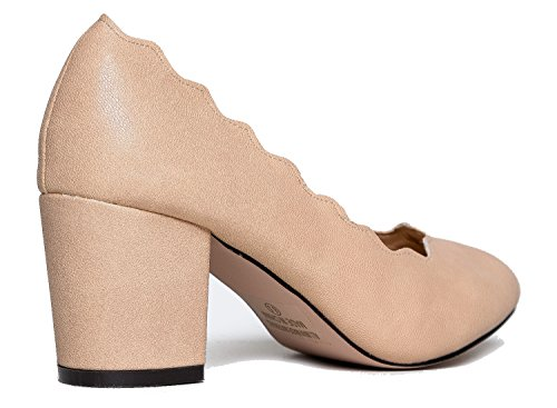 Shoe Vegan Cake Heel Pumps Suede Chunky Block Adams Low Dress by Work Scallop Pumps Nude J Party Casual Cute 8CzPfxq