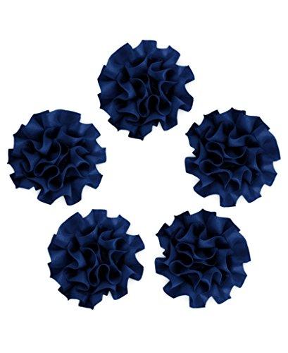 Ajetex 20pcs Sation Ribbon Carnations Flower 50mm Wedding Appliques Dark Blue ()