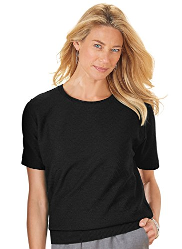 Alfred Dunner Women's Missy Short Sleeve Sweater Shell, Black, X-Large