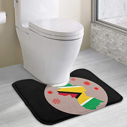 Bennett11 Flag-map of Guyana U-Shaped Toilet Floor Rug Non-Slip Toilet Carpets Shower Mat 19.2″x15.7″