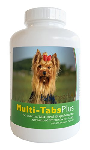 Healthy Breeds Dog Multi-vitamin and Mineral Supplement Chewable Tabs for Yorkshire Terrier - Over 80 Breeds - 180, 365 Chews - Formula for Young or Senior Pets - Easier Than Liquid, Powder