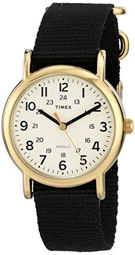 Timex Unisex T2P4769J Weekender Gold-Tone Watch with Black Nylon Band