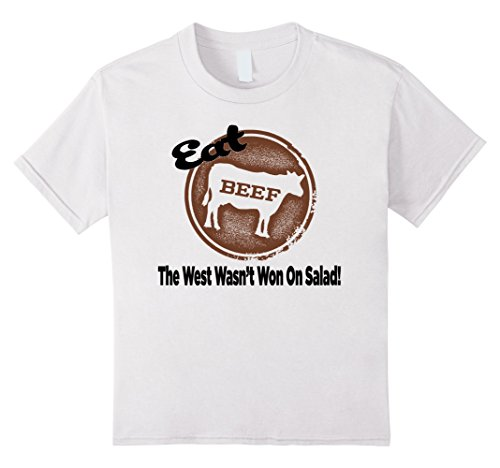 unisex-child Eat Beef The West Wasn't Won On Salad - Funny BBQ Shirt 8 White