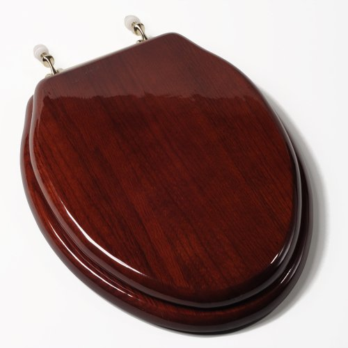 Comfort Seats C1B1E-16BR Designer Solid Wood Toilet Seat with PVD Brass Hinges, Elongated, Mahogany