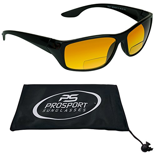 PRO  HD Vision Bifocals Sunglasses for Men and Women. Black Frame and Bifocal power 3.00. Free Microfiber Cleaning Case included. - Sun Power With Glasses
