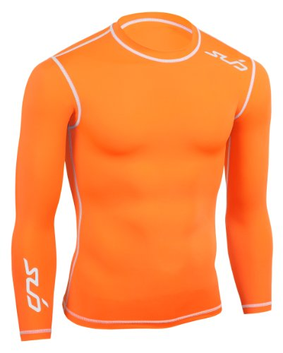 Sub Sports Kinder Dual Kompressionsshirt Funktionswäsche Base Layer langarm, Orange, 152/164