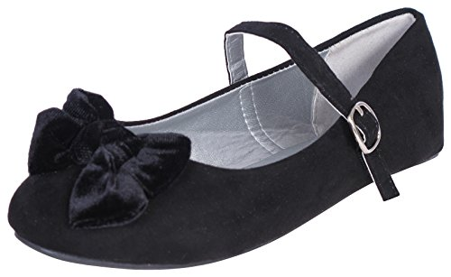 'Eddie Marc Toddler Girls and Big Girls Ballet Flat with Velvet Bow and Ankle Straps, Black, Size 9'