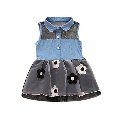 Xmansky Kleinkind Babys Ärmellos Denim Blumen Drucken Mini Kleid Sommerkleid Schwarz