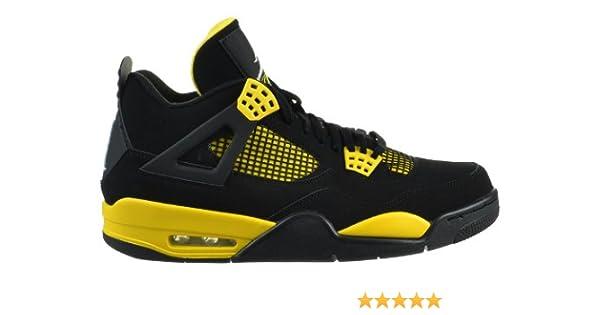 8ecd7ad38c5 Amazon.com   Jordan Air 4 Retro Thunder Men's Shoes Black/White-Tour Yellow    Basketball