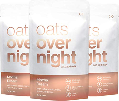 Oats Overnight - Mocha Dream - Premium High-Protein, Low-Sugar, Gluten-Free, Contains Coffee (2.8oz per pack) (12 Pack)